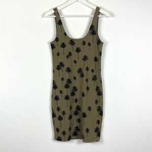 TOPSHOP Green Palm Tree Tank Mini Dress 8 Summer